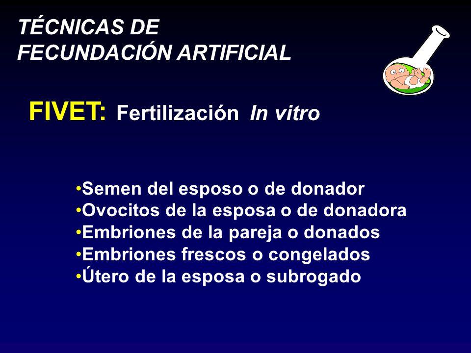 TÉCNICAS DE FECUNDACIÓN ARTIFICIAL FIVET: Fertilización In vitro Semen del esposo o de donador Ovocitos de la esposa o de donadora Embriones de la pareja o donados Embriones frescos o congelados Útero de la esposa o subrogado
