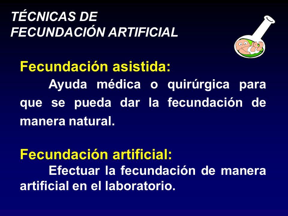 TÉCNICAS DE FECUNDACIÓN ARTIFICIAL Fecundación asistida: Ayuda médica o quirúrgica para que se pueda dar la fecundación de manera natural.