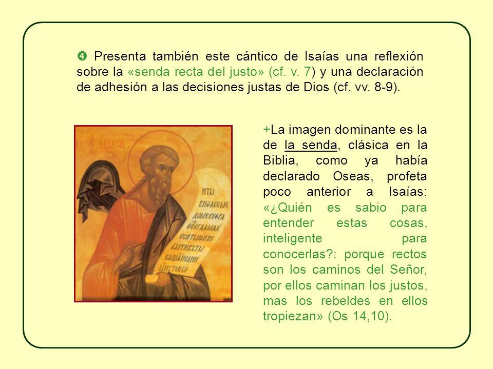 Presenta también este cántico de Isaías una reflexión sobre la «senda recta del justo» (cf.