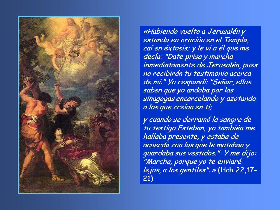 * Pablo recuerda en su discurso su vida de judío celoso y perseguidor, cómo con cartas del sumo pontífice fue a Damasco y cómo Jesús resucitado se le apareció y le envió a predicar a los gentiles.