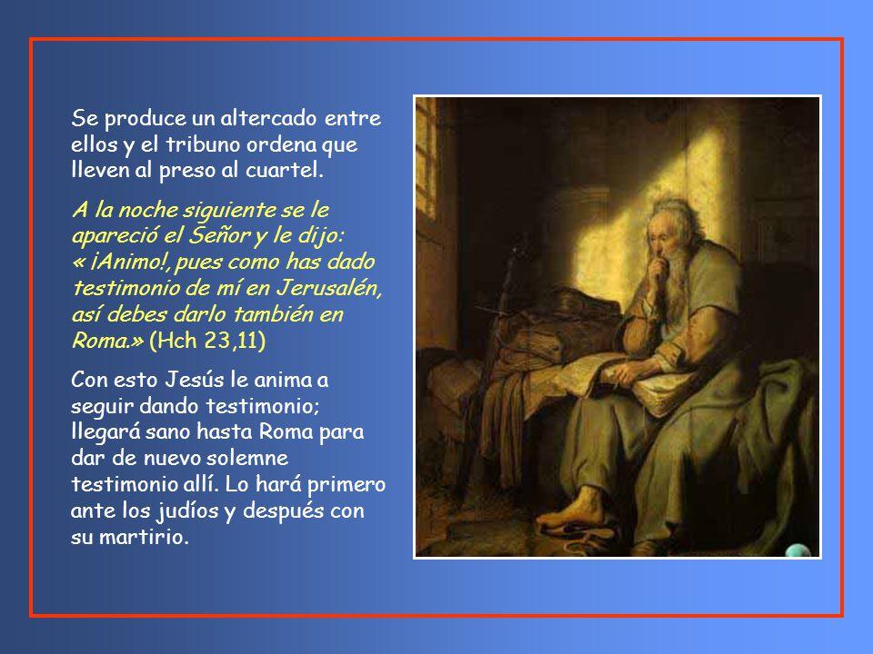 «Hermanos, yo soy fariseo, hijo de fariseos; por esperar la resurrección de los muertos se me juzga.» Al decir él esto, se produjo un altercado entre fariseos y saduceos y la asamblea se dividió.