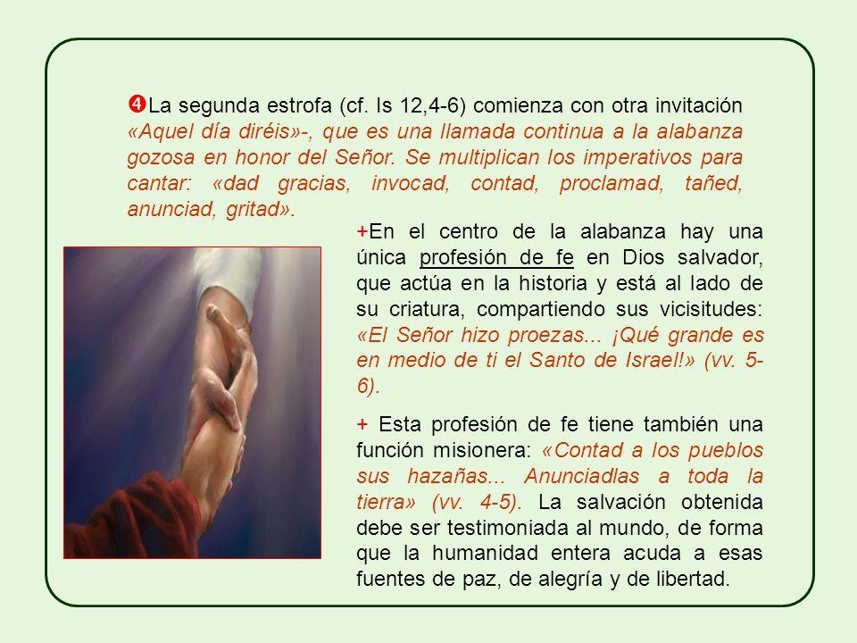 Las dos estrofas del himno marcan casi dos momentos. En el primero (cf. vv. 1-3), que comienza con la invitación a orar: «Dirás aquel día», domina la
