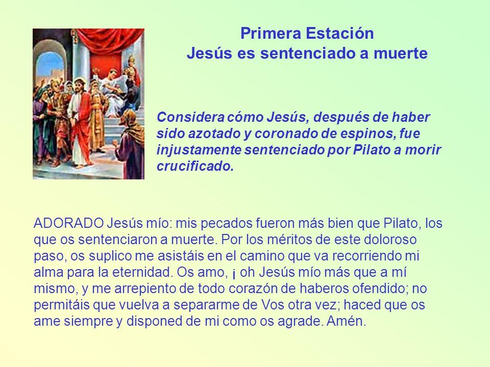 Segunda Estación Jesús es cargado con la cruz Considera cómo Jesús, andando este camino con la cruz a cuestas, iba pensando en ti y ofreciendo a su Padre por tu salvación la muerte que iba a padecer.