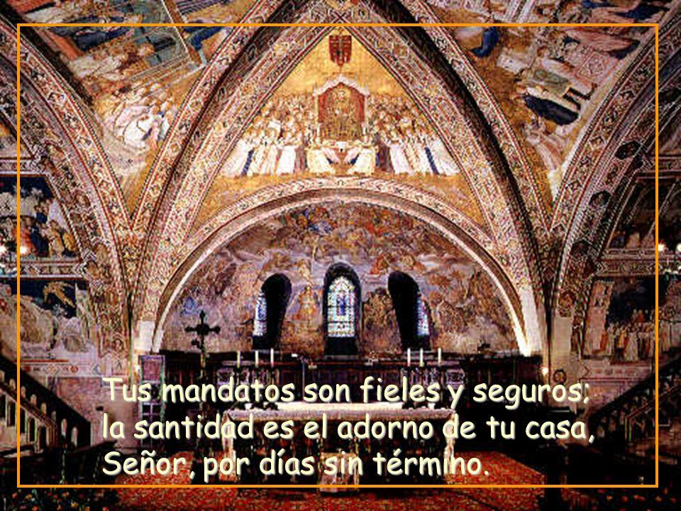 Tus mandatos son fieles y seguros; la santidad es el adorno de tu casa, Señor, por días sin término.