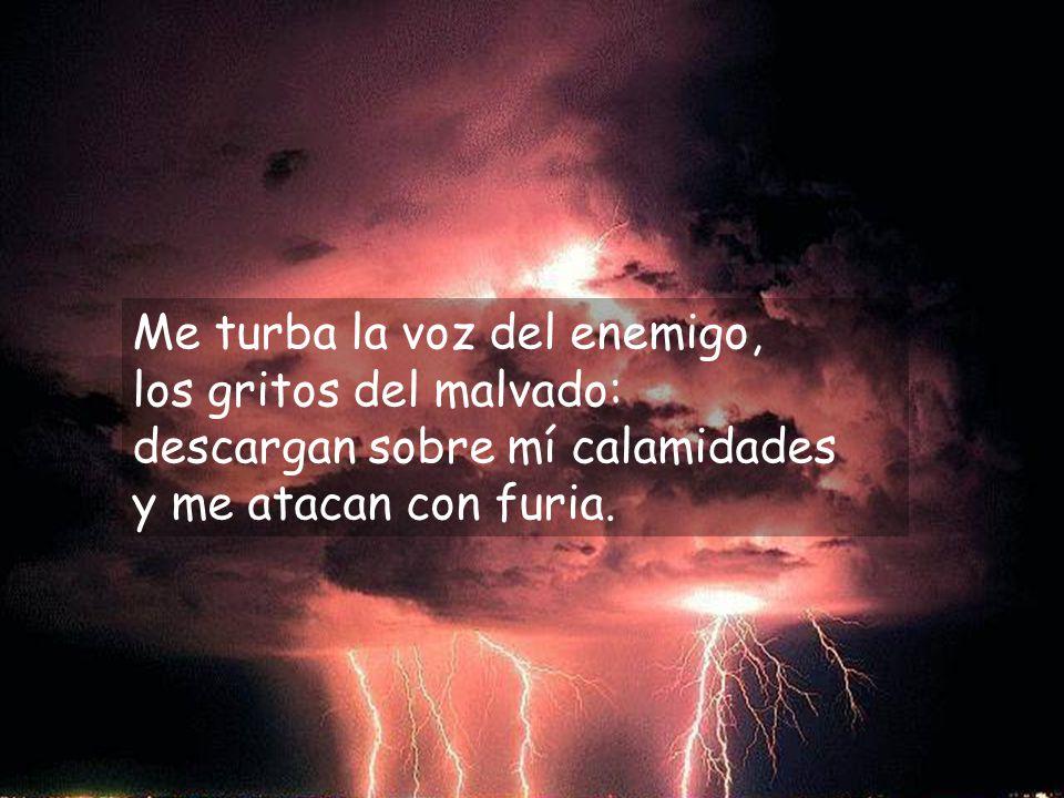 Me turba la voz del enemigo, los gritos del malvado: descargan sobre mí calamidades y me atacan con furia.