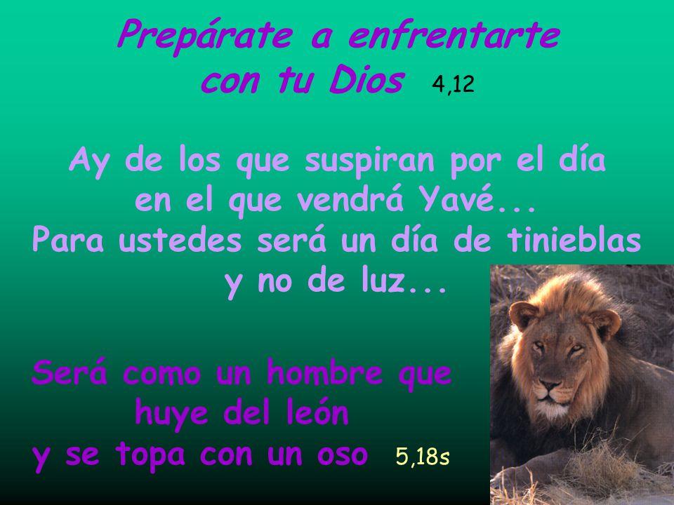 Prepárate a enfrentarte con tu Dios 4,12 Será como un hombre que huye del león y se topa con un oso 5,18s Ay de los que suspiran por el día en el que