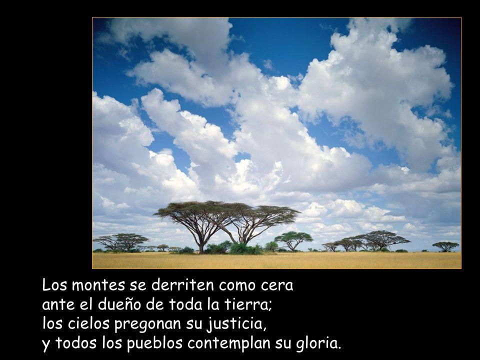 Los montes se derriten como cera ante el dueño de toda la tierra; los cielos pregonan su justicia, y todos los pueblos contemplan su gloria.