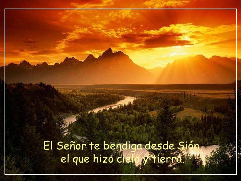 El Señor te bendiga desde Sión, el que hizo cielo y tierra.