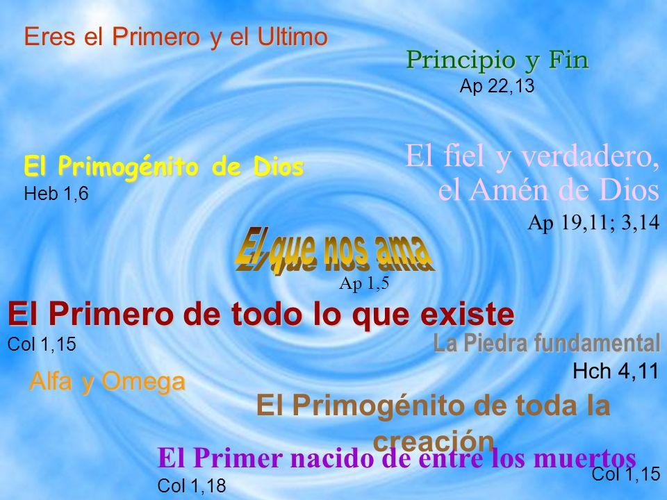 Principio y Fin Principio y Fin Ap 22,13 El Primogénito de toda la creación Col 1,15 PrimeroUltimo Eres el Primero y el Ultimo Alfa y Omega El Primogé
