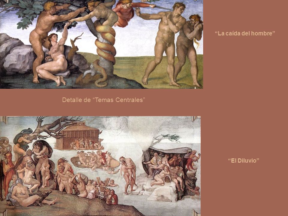 Pechinas – clic en:Sibilas y Profetas - clic en: Historias centrales:Caída del hombre.El Sacrificio de Noé.El Diluvio.La embriaguez de Noé. Profeta Za