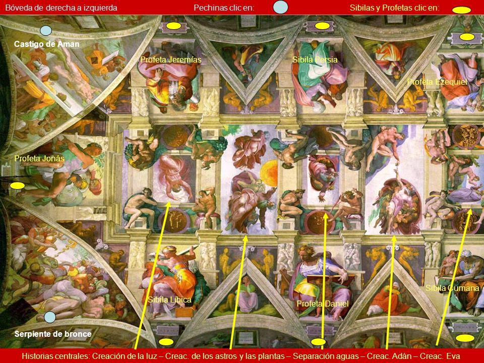 Bóveda de la Capilla Sixtina – vista parcial La parte central del techo es llana; los arcos son trabajo de perspectiva. Miguel Angel ideó un cuadro ar