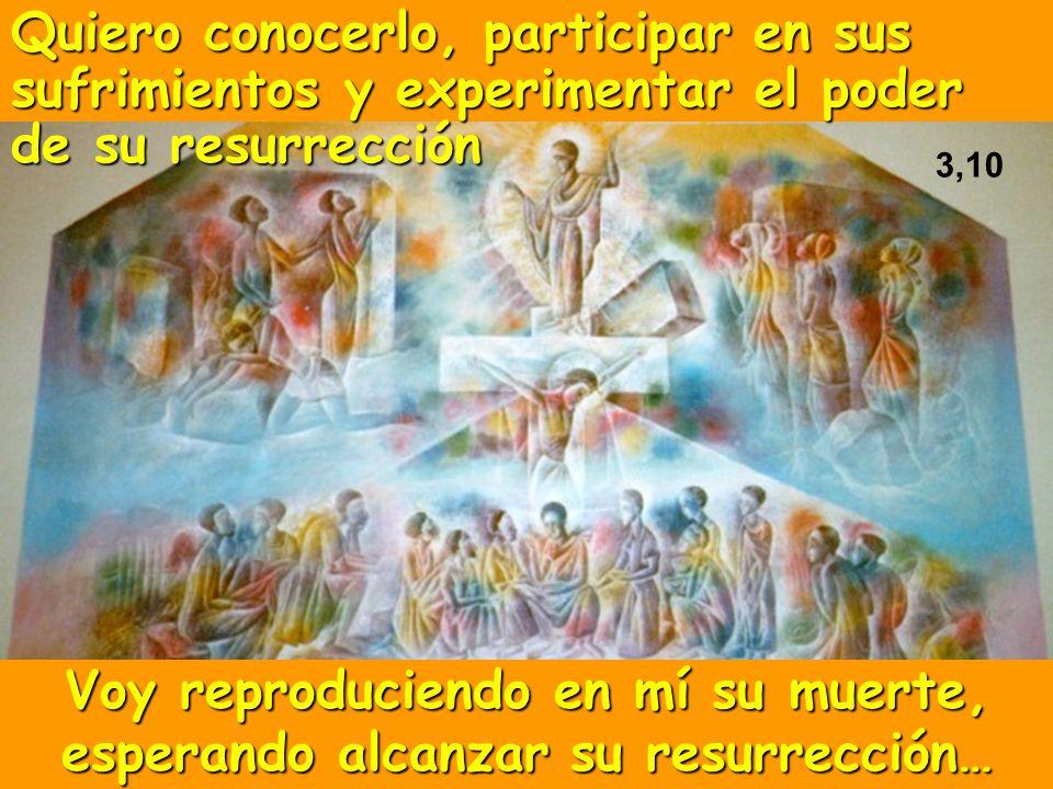 Quiero conocerlo, participar en sus sufrimientos y experimentar el poder de su resurrección Voy reproduciendo en mí su muerte, esperando alcanzar su r