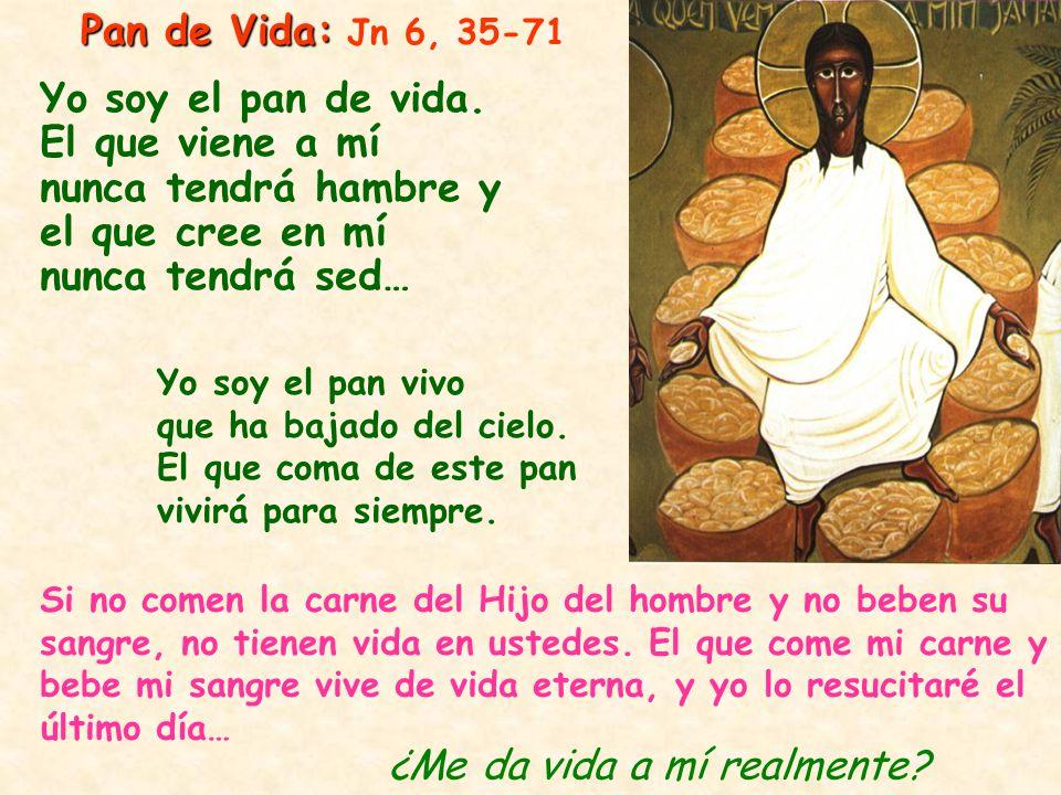 Pan de Vida: Pan de Vida: Jn 6, 35-71 Si no comen la carne del Hijo del hombre y no beben su sangre, no tienen vida en ustedes. El que come mi carne y