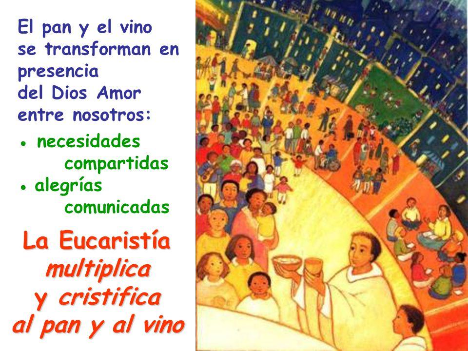 necesidades compartidas alegrías comunicadas La Eucaristía multiplica ycristifica al pan y al vino El pan y el vino se transforman en presencia del Dios Amor entre nosotros: