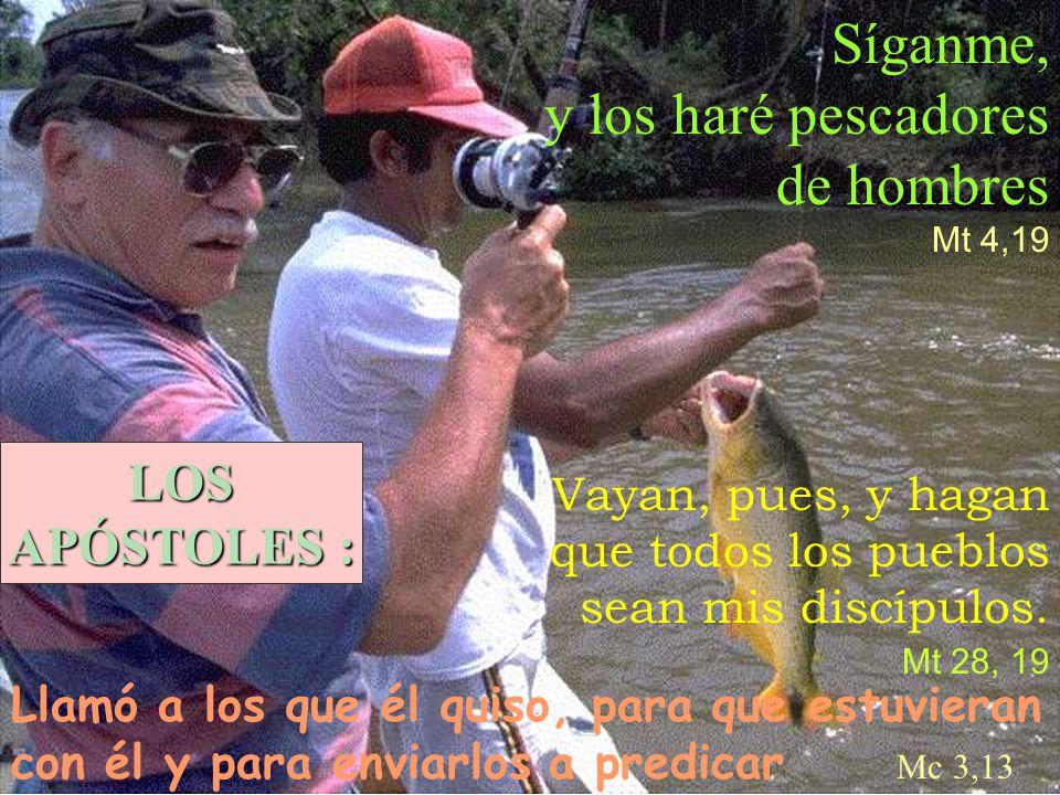 Síganme, y los haré pescadores de hombres Mt 4,19 Vayan, pues, y hagan que todos los pueblos sean mis discípulos. Mt 28, 19 Llamó a los que él quiso,