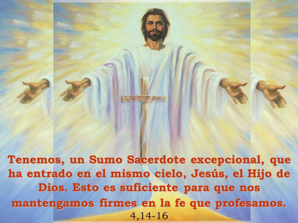 Tenemos, un Sumo Sacerdote excepcional, que ha entrado en el mismo cielo, Jesús, el Hijo de Dios. Esto es suficiente para que nos mantengamos firmes e