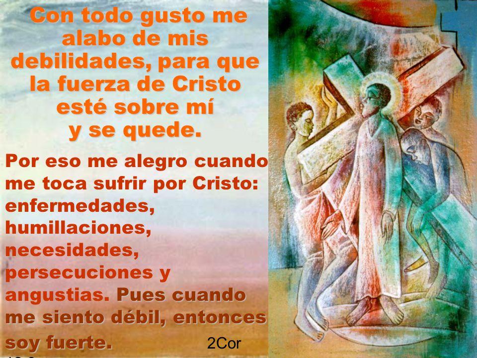 Con todo gusto me alabo de mis debilidades, para que la fuerza de Cristo esté sobre mí y se quede. Por eso me alegro cuando me toca sufrir por Cristo: