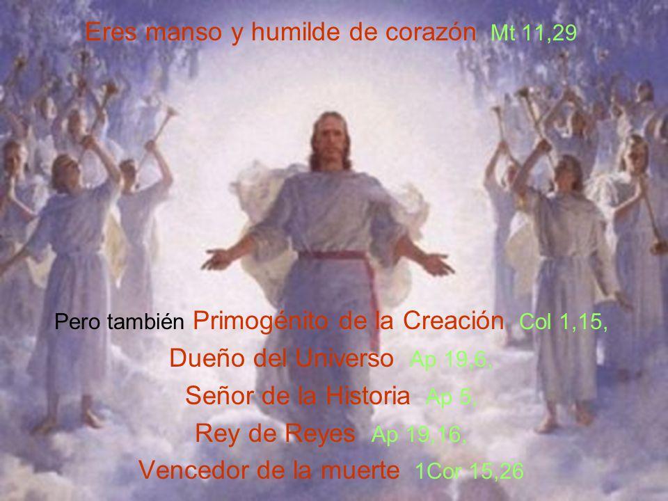 Eres manso y humilde de corazón Mt 11,29 Pero también Primogénito de la Creación Col 1,15, Dueño del Universo Ap 19,6, Señor de la Historia Ap 5, Rey de Reyes Ap 19,16, Vencedor de la muerte 1Cor 15,26