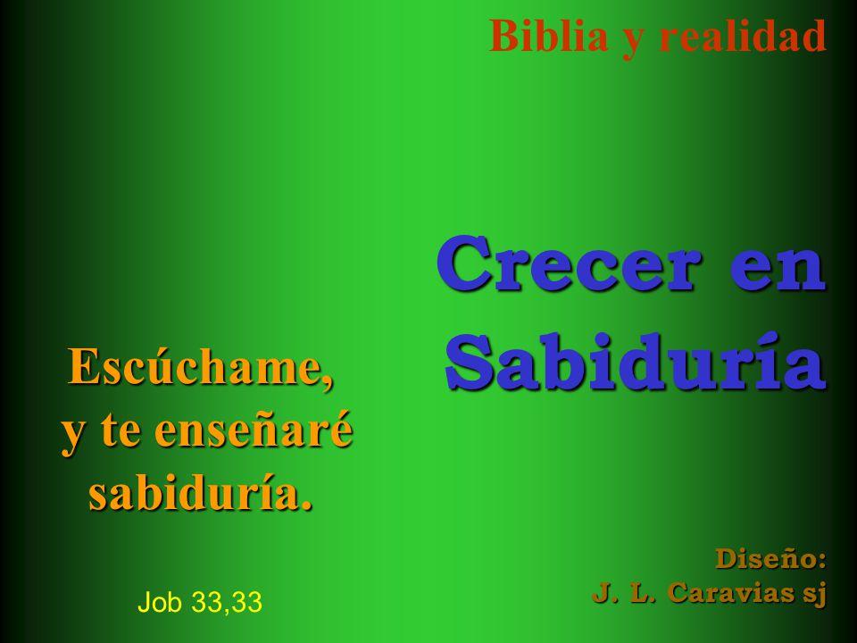 Biblia y realidad Crecer en Sabiduría Diseño: J. L. Caravias sj Escúchame, y te enseñaré sabiduría. Escúchame, y te enseñaré sabiduría. Job 33,33
