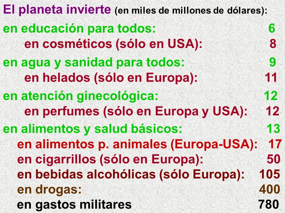 El planeta invierte (en miles de millones de dólares): en alimentos y salud básicos: 13 en alimentos p. animales (Europa-USA): 17 en cigarrillos (sólo