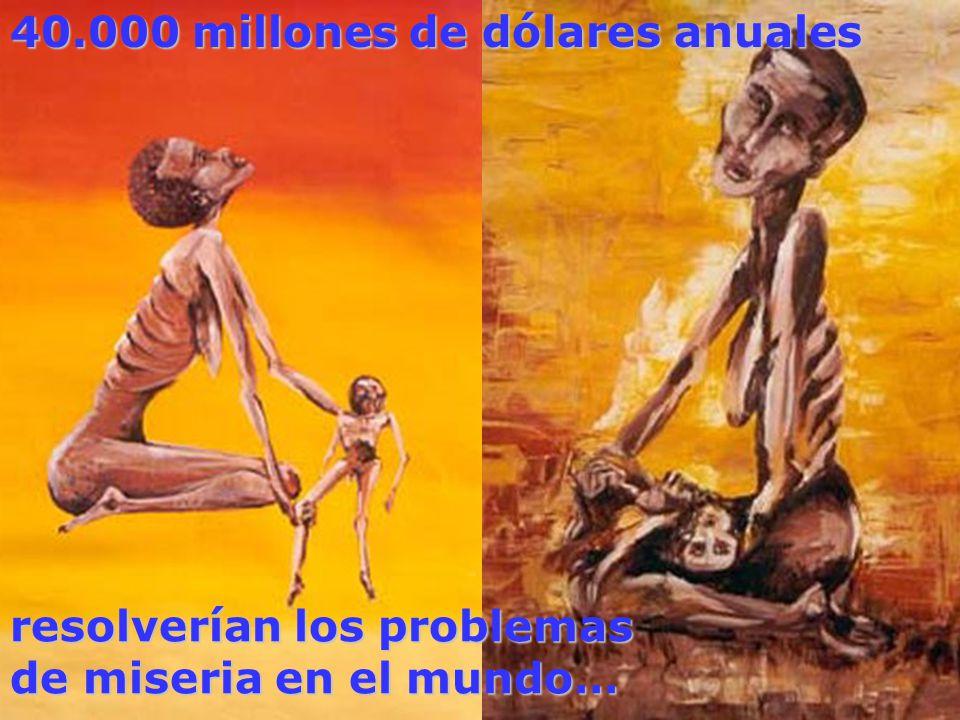 resolverían los problemas de miseria en el mundo… 40.000 millones de dólares anuales