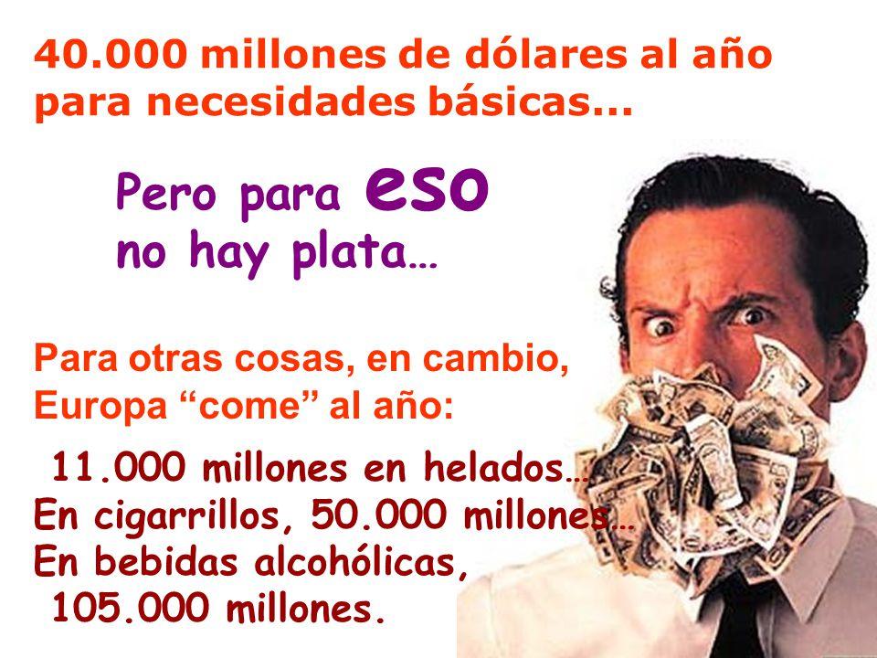 11.000 millones en helados… En cigarrillos, 50.000 millones… En bebidas alcohólicas, 105.000 millones. Pero para eso no hay plata… 40.000 millones de