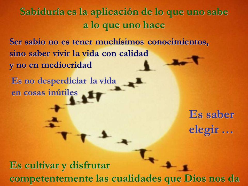 Sabiduría es la aplicación de lo que uno sabe a lo que uno hace Es cultivar y disfrutar competentemente las cualidades que Dios nos da Ser sabio no es