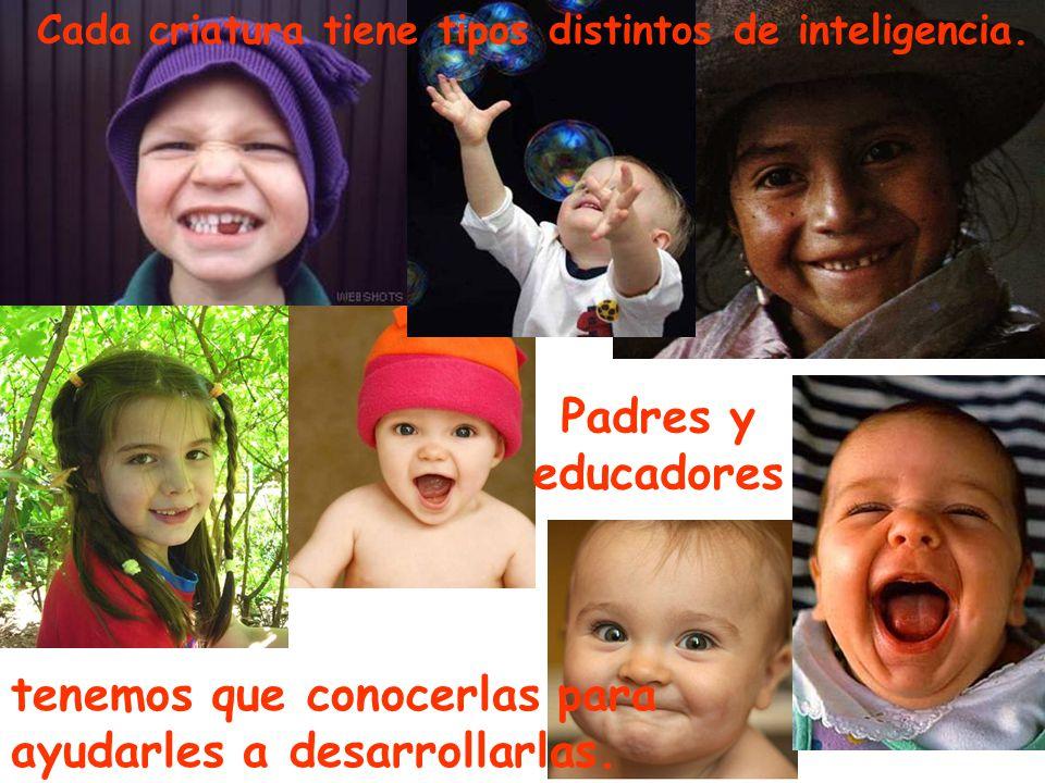 Cada criatura tiene tipos distintos de inteligencia. tenemos que conocerlas para ayudarles a desarrollarlas. Padres y educadores