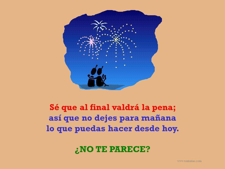 www.tonterias.com Sé que al final valdrá la pena; así que no dejes para mañana lo que puedas hacer desde hoy. ¿NO TE PARECE?