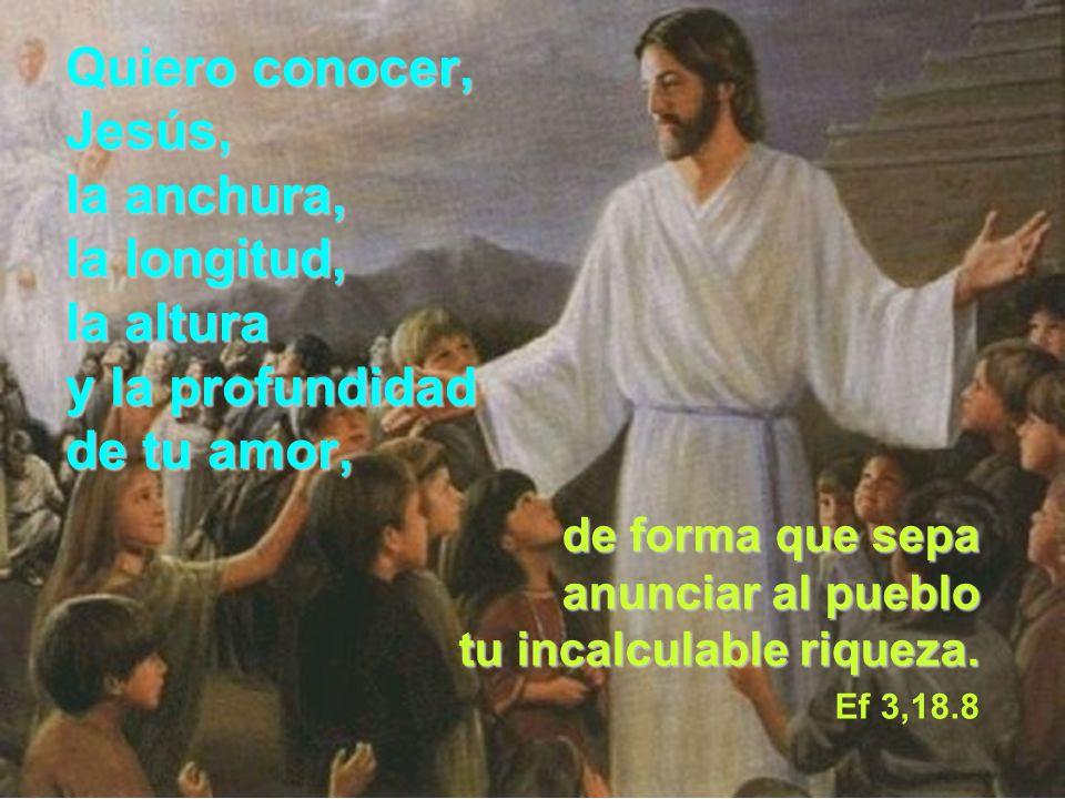 Quiero conocer, Jesús, la anchura, la longitud, la altura y la profundidad de tu amor, de forma que sepa anunciar al pueblo tu incalculable riqueza. E