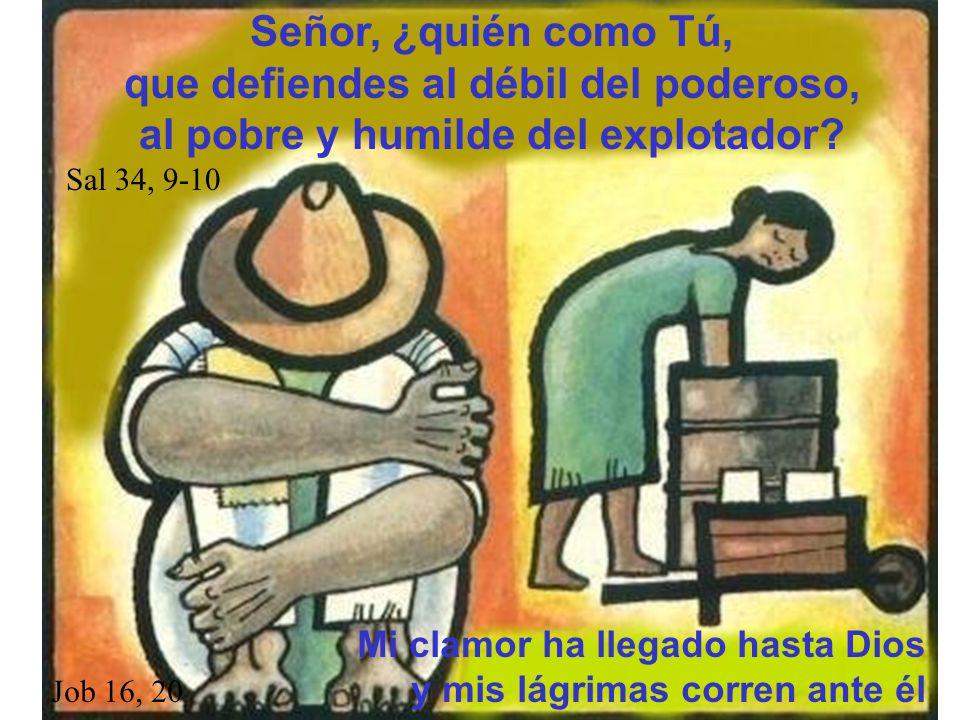 Señor, ¿quién como Tú, que defiendes al débil del poderoso, al pobre y humilde del explotador? Sal 34, 9-10 Mi clamor ha llegado hasta Dios Job 16, 20