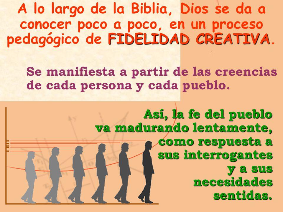 FIDELIDAD CREATIVA A lo largo de la Biblia, Dios se da a conocer poco a poco, en un proceso pedagógico de FIDELIDAD CREATIVA.Así, la fe del pueblo va madurando lentamente, como respuesta a sus interrogantes y a sus necesidades sentidas.