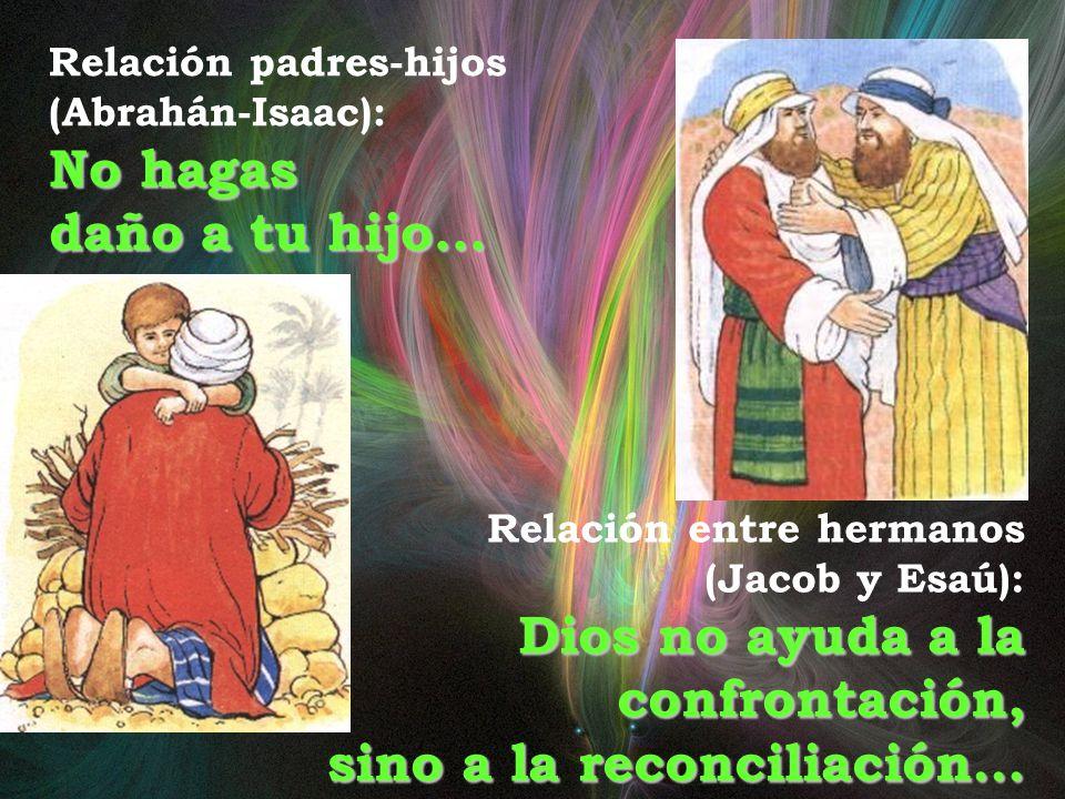 Relación padres-hijos (Abrahán-Isaac): No hagas daño a tu hijo… Relación entre hermanos (Jacob y Esaú): Dios no ayuda a la confrontación, sino a la reconciliación…