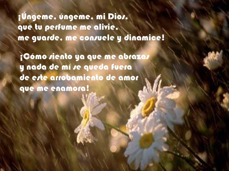 ¡Úngeme, úngeme, mi Dios, que tu perfume me alivie, me guarde, me consuele y dinamice! ¡Cómo siento ya que me abrazas y nada de mí se queda fuera de e