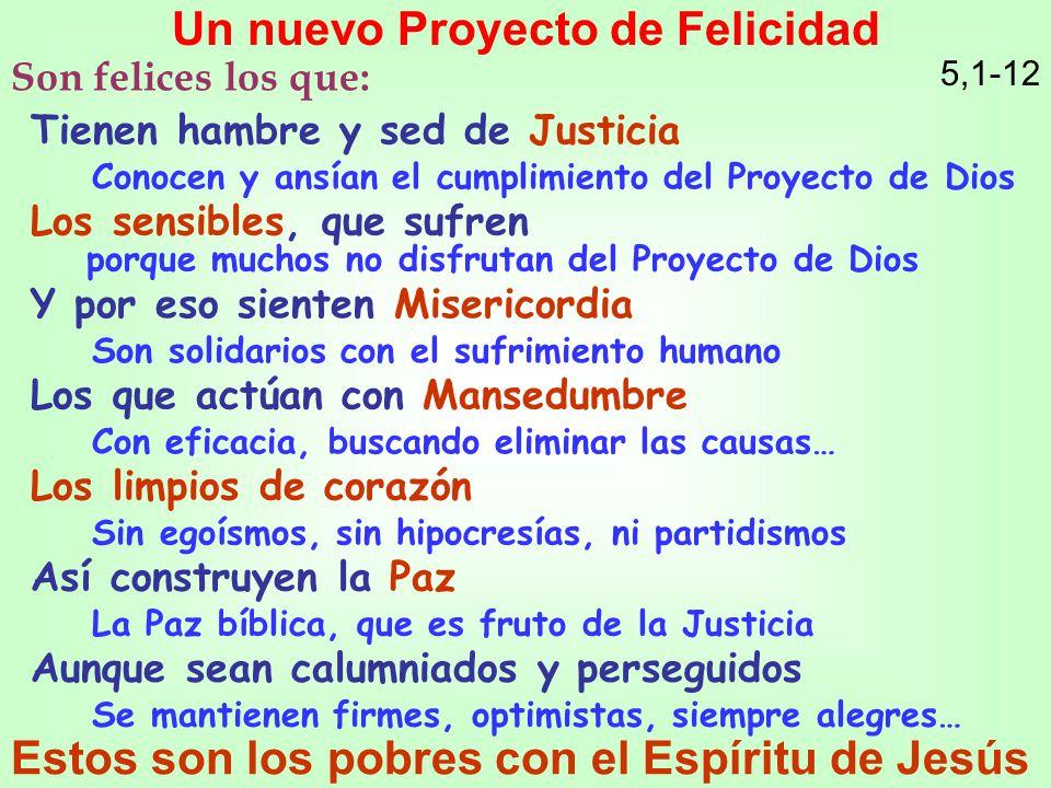 Tienen hambre y sed de Justicia Conocen y ansían el cumplimiento del Proyecto de Dios Un nuevo Proyecto de Felicidad 5,1-12 Los sensibles, que sufren