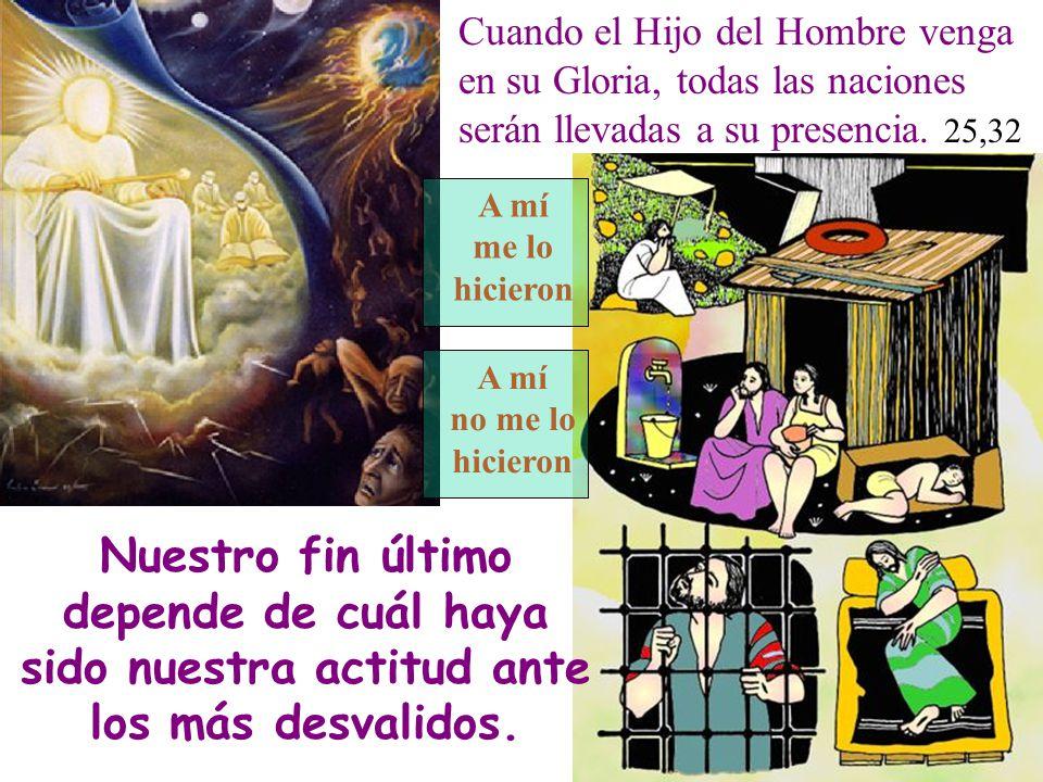 Cuando el Hijo del Hombre venga en su Gloria, todas las naciones serán llevadas a su presencia. 25,32 A mí me lo hicieron A mí no me lo hicieron Nuest