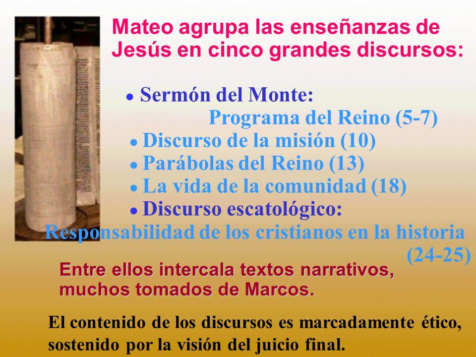 Sermón del Monte: Programa del Reino (5-7) Discurso de la misión (10) Parábolas del Reino (13) La vida de la comunidad (18) Discurso escatológico: Res