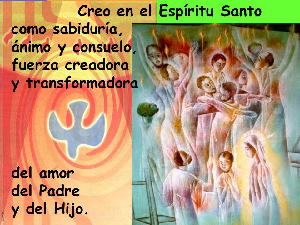 Creo en el Espíritu Santo como sabiduría, ánimo y consuelo, fuerza creadora y transformadora del amor del Padre y del Hijo.