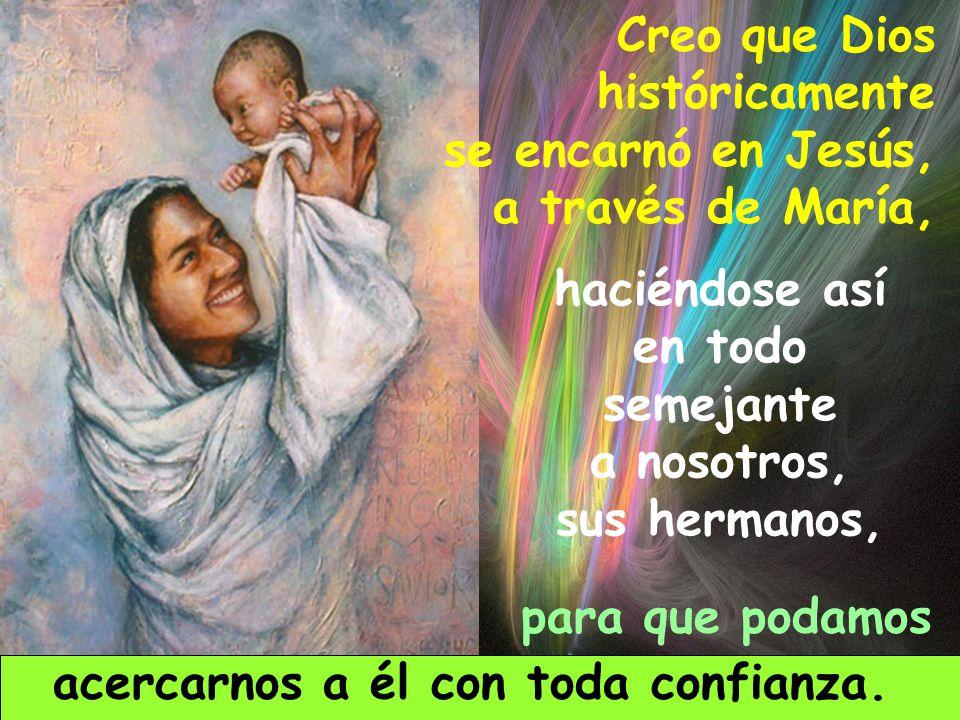 Creo que Dios históricamente se encarnó en Jesús, a través de María, haciéndose así en todo semejante a nosotros, sus hermanos, para que podamos acercarnos a él con toda confianza.