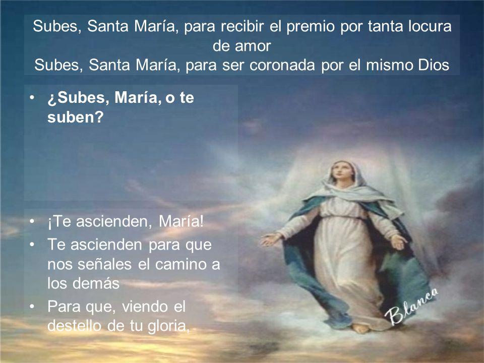 Subes, Santa María, para recibir el premio por tanta locura de amor Subes, Santa María, para ser coronada por el mismo Dios ¡Te lleva, Virgen y Madre!