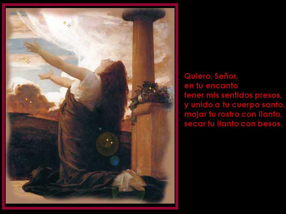 Cuerpo llagado de amores, yo te adoro y yo te sigo. Señor de los señores, quiero partir tus dolores subiendo a la cruz contigo. Quiero en la vida segu