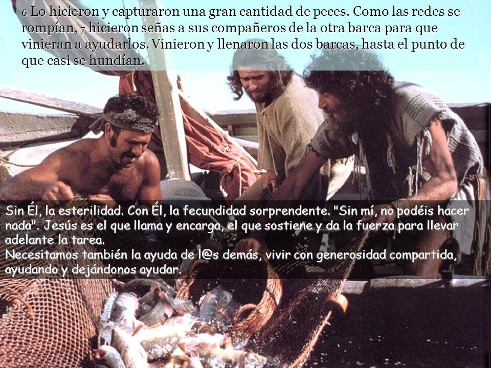 4 Cuando terminó de hablar, dijo a Simón: « Rema lago adentro y echad vuestras redes para pescar. » 5 Simón respondió: « Maestro, hemos estado toda la