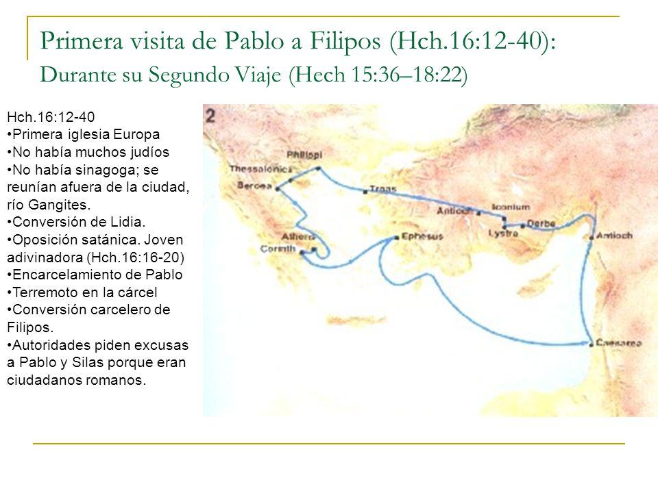 Dos visitas más a Filipos: En Tercer Viaje (Hch.20:1 – 21:17) A principio del tercer viaje (2Co.8:1-5) y al final del mismo (Hch.20:6).