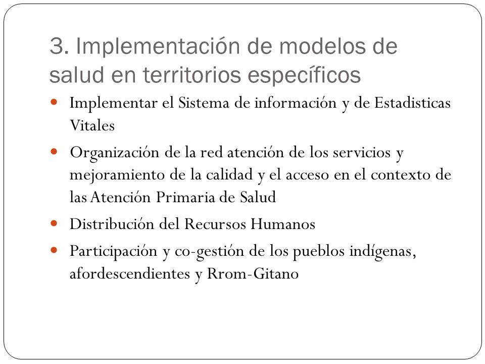 3. Implementación de modelos de salud en territorios específicos Implementar el Sistema de información y de Estadisticas Vitales Organización de la re