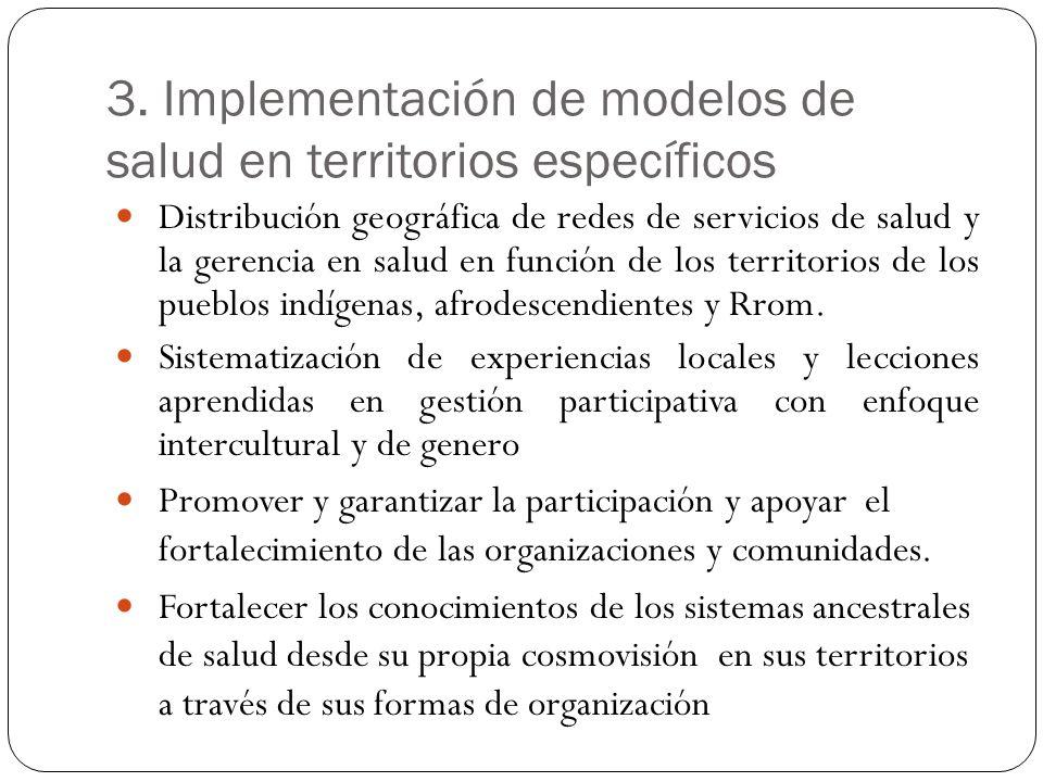 3. Implementación de modelos de salud en territorios específicos Distribución geográfica de redes de servicios de salud y la gerencia en salud en func