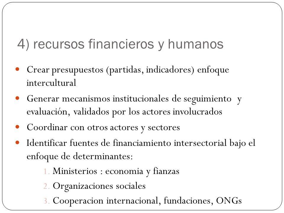 4) recursos financieros y humanos Crear presupuestos (partidas, indicadores) enfoque intercultural Generar mecanismos institucionales de seguimiento y