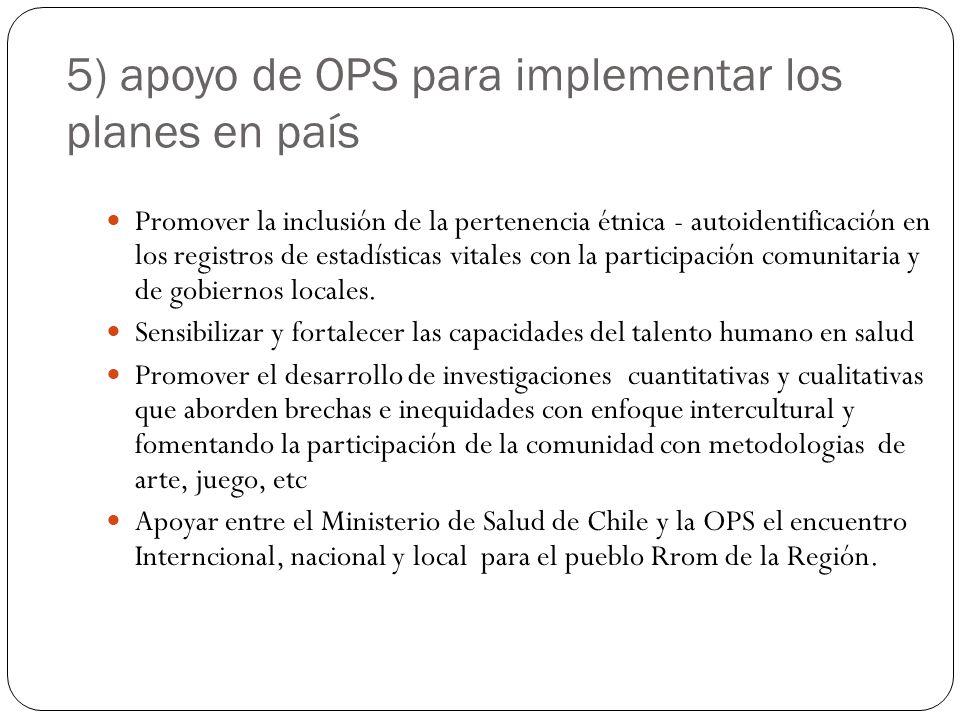 5) apoyo de OPS para implementar los planes en país Promover la inclusión de la pertenencia étnica - autoidentificación en los registros de estadístic