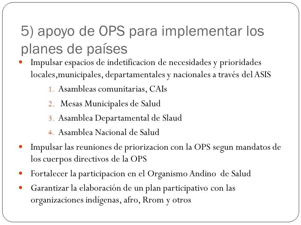 5) apoyo de OPS para implementar los planes de países Impulsar espacios de indetificacion de necesidades y prioridades locales,municipales, departamen