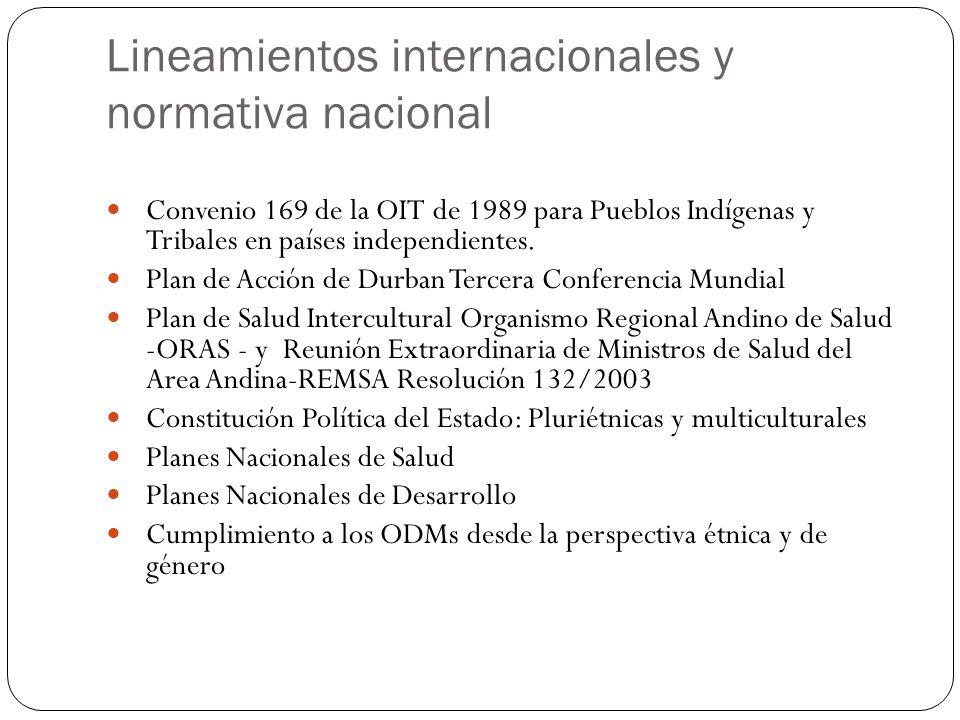 Lineamientos internacionales y normativa nacional Convenio 169 de la OIT de 1989 para Pueblos Indígenas y Tribales en países independientes. Plan de A