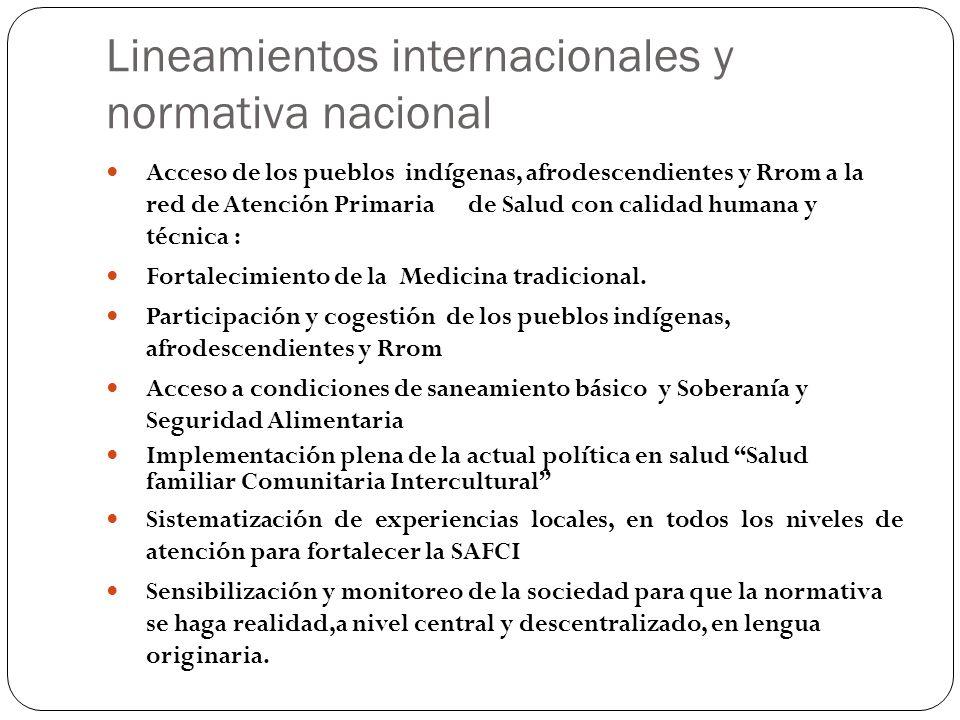Lineamientos internacionales y normativa nacional Acceso de los pueblos indígenas, afrodescendientes y Rrom a la red de Atención Primaria de Salud con